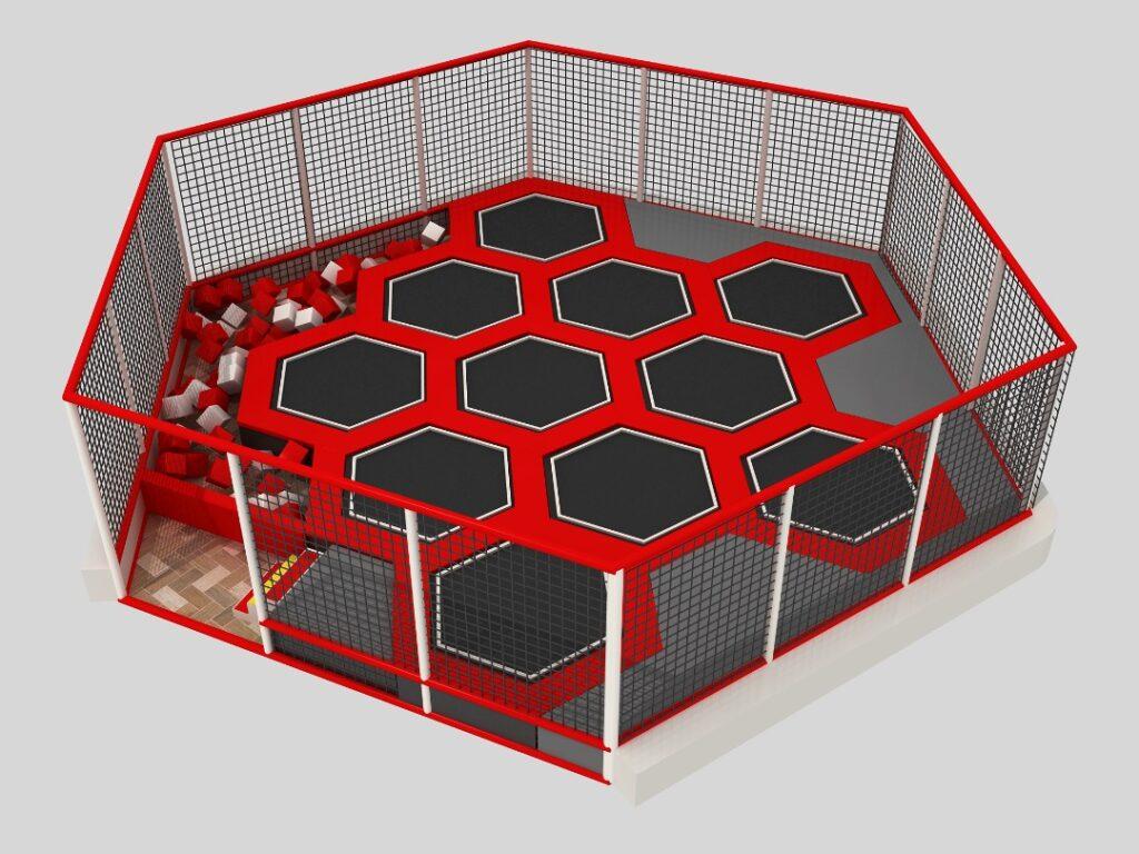 Park trampolin Sześciokąt